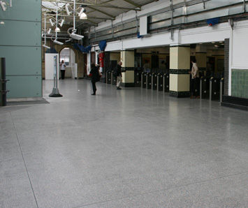 Tiled Terrazzo flooring at a station